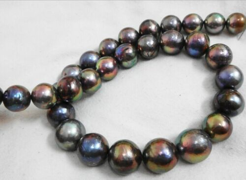 """HUGE 18/""""13-16MM SOUTH SEA GENUINE BLACK MULTICOLOR ROUND NUCLEAR PEARL NECKLACE"""