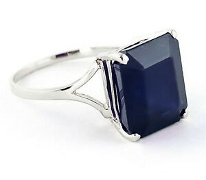 925-Sterling-Silver-Natural-Blue-Sapphire-Gemstone-Octagun-Shape-Ring