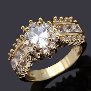 Solitaire-Size-10-White-Sapphire-18K-Gold-Filled-Rare-Emerald-Cut-Womens-Rings