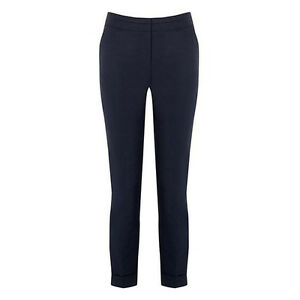 EX-WAREHOUSE-WOMENS-NAVY-BLUE-COTTON-TAPERED-ANKLE-TROUSERS-Sizes-6-18