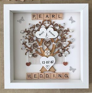 Image is loading Personalised-handmade-pearl-30th-Wedding-Anniversary-Tree- gift-