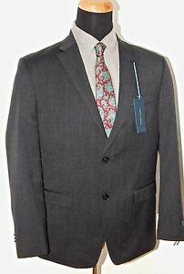 Tommy-Hilfiger-100-Wool-Solid-Charcoal-Gray-Mens-Suit-Trim-Fit-42R-amp-40L-77968