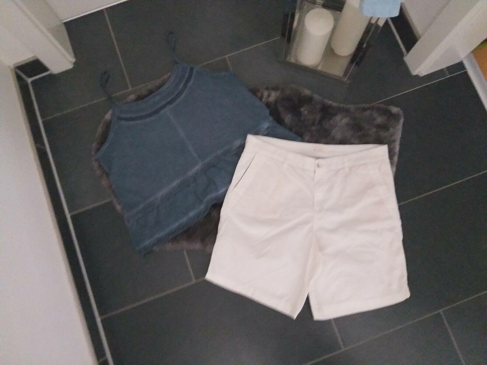 Set 36 38 Shirt Tunika Shorts bermuda Esprit weiß Blau Baumwolle Top Zustand