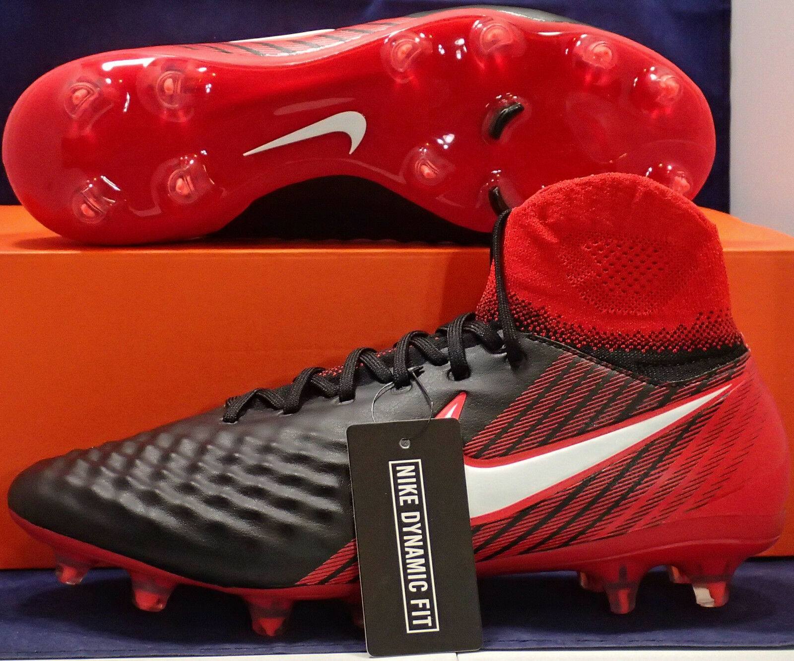 Nike Magista Orden II Red 2 FG Black White Red II Cleats SZ US 8.5 ( 843812-061 ) 6c8122