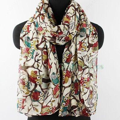 Fashion Women's Owl Branch Print Viscose Soft Long Scarf Shawl Wrap Stole New