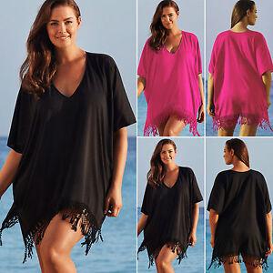 Women-039-s-Summer-Beach-Bikini-Cover-Up-Batwing-Kaftan-Tassel-Mini-Dress-Beachwear