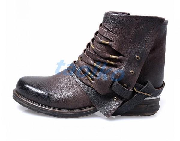 Hebilla Punk para Mujer Cuero Genuino Motocicleta De Combate Militar botas botas Militar al Tobillo Zapatos 4107db
