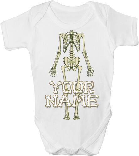 SKELETON BODY PERSONALISED BABY VEST *GREAT GIFT /& NAMED TOO* GRO //BODYSUIT