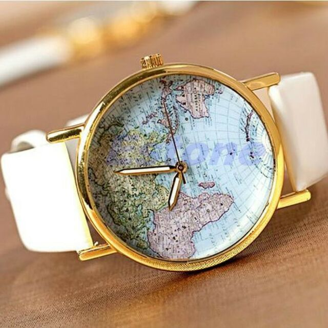 Quartz Wristwatch Designed Women Retro World Map Leather Alloy Women Analog