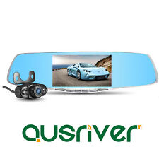 "1080P Dual Lens 5.0"" Car Camera Video DVR Cam Recorder Reversing Rearview Mirror"