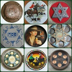 Judaica-Vintage-Hanukkah-Plate-Tray-Jewish-Brass-Bronze-Porcelain-Islamic-Arabic