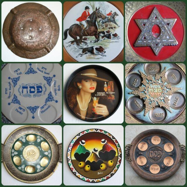 Judaica Vintage Hanukkah Plate Tray Jewish Brass Bronze Porcelain Islamic Arabic