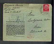 1940 Germany Dachau Concentration Camp Cover to Posen Leonard Kortylewski KZ
