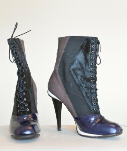Fendi  Black Victorian Calf Pony Hair Boots/Bootie