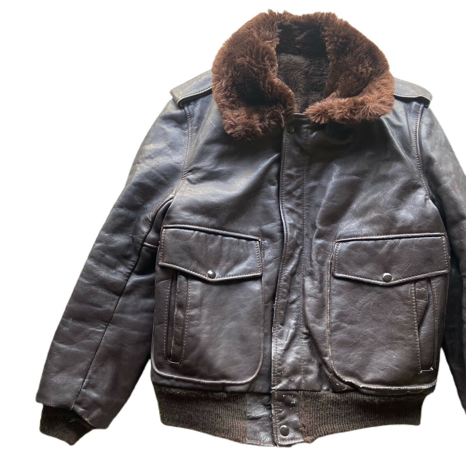 Vintage 60's G-1 Leather Bomber Flight Fur Jacket - image 3