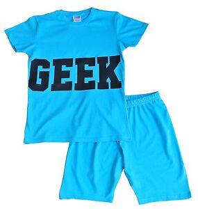 dc3ff1545f63 Super Cool GEEK Girls Short Pyjamas Pajamas Baby Blue Pj 7-12 Years ...