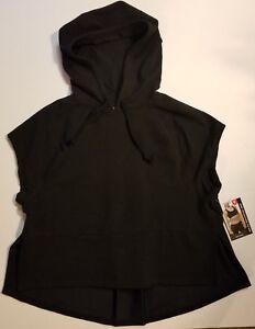 Avia-Black-Short-Sleeve-Crop-Hoodie-Workout-Sport-Shirt-Gym-S-M-L-XL-XXL-NWT