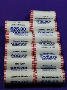 11-Presidential-Dollar-UNC-roll-275-Coins-Lincoln-Jefferson-Adams-Tyler-more