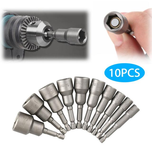 10pc Precision Hex Shank Chrome Vanadium Steel Metal ScrewdriverBit Set Kit