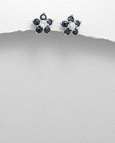 Solid Sterling Silver 9mm Natural Sapphire Flower Stud Earrings Premium Backs