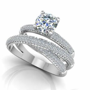 1.30 Ct Round Moissanite Band Set 14K Solid White Gold Anniversary Ring Size 6.5