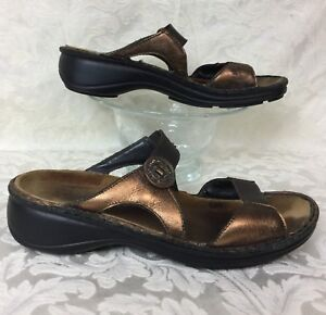 f465d8e6ec4f NAOT double strap metallic bronze gold sandal shoe slide Made in ...