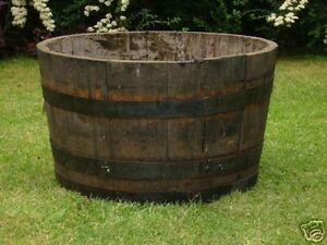 Half solid oak wine whisky barrel planters garden patio for Whiskey barrel bathtub
