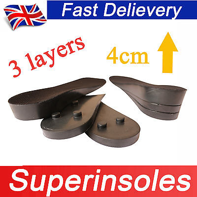 Full Foot Adjustable Height Increase Heel Lift Shoe Insert Pads Insoles-3 layers