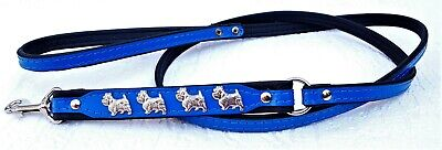 *westie* Hundeleine - Metallaplikationen, 130cm/10mm, Echt Leder Blau (3-01) Handig Om Te Koken
