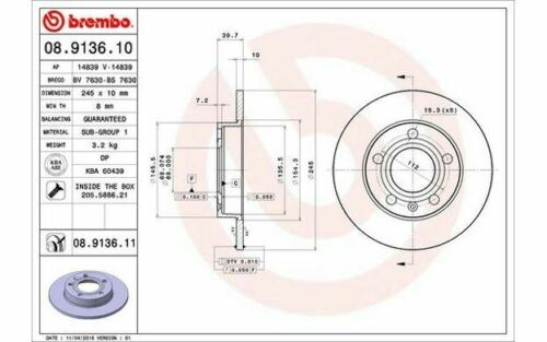 2x BREMBO Rear Brake Discs Solid 245mm for AUDI A4 08.9136.10 Mister Auto