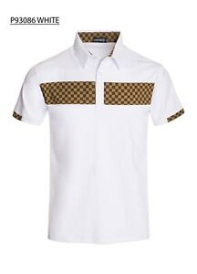 New-Mens-Short-Sleeve-Polo-Shirt-Slim-Fit-Stretch-White-Brown-Beige-Checkered