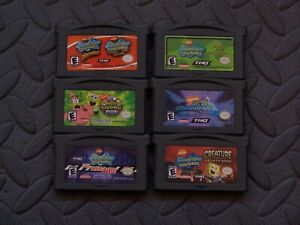 Lot Nintendo Game Boy Advance GBA Games SpongeBob SquarePants 6 titles included