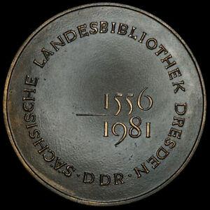 Dresde/saxe: Médaille 1981. 425 Ans Sächsische Pays Bibliothèque-slub.-ek - Slub. Fr-fr Afficher Le Titre D'origine Belle Et Charmante