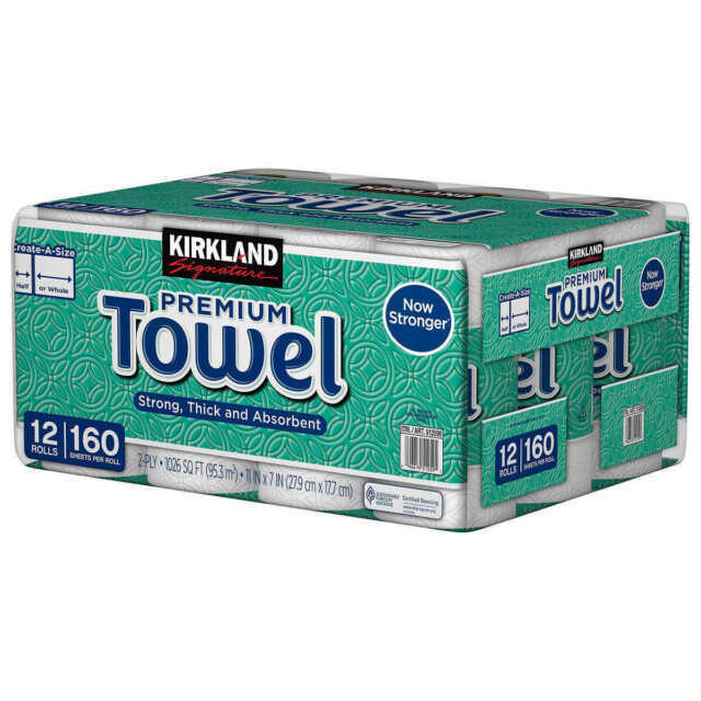 160 Sheets 12-count Other 2-Ply Kirkland Signature Create-a-Size Paper Towels