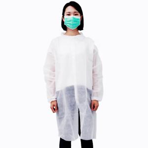 10 Hip Length Unisex Non-woven Disposable Lab Coats Gowns Dental Medical  L GC