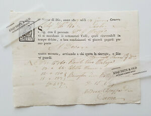 1817 Genova Sestri Italien Frachtbrief Transport Handschrift Heiliger Dokument
