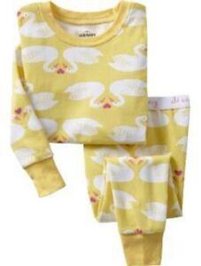 Old-Navy-Baby-Toddler-White-Swan-Hearts-Yellow-Sleep-Set-Pajamas-2-5T-12-18-24mo