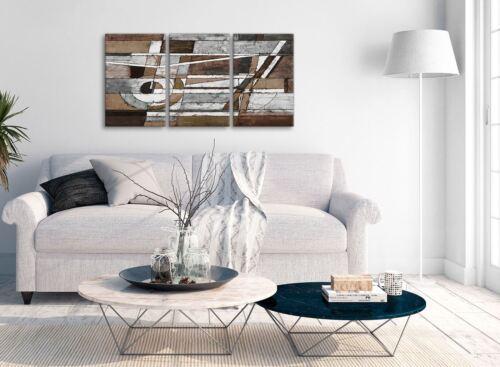 3 piezas de lona Marrón Beige Blanco Pintura Dormitorio Arte Abstracto 3407-126 Cm