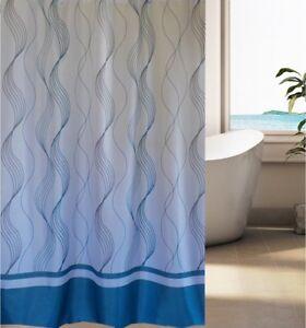 Image Is Loading Blue Vertigo Stripe Fabric Shower Curtain New Free