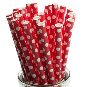 x25 White Polka Dots on Red Paper Straws Cake Pop Lollipop Sticks Vintage Retro