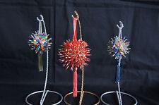 Lot of 3 Sputnik beaded sequin Christmas ornaments w/tassels handmade