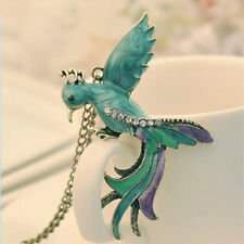 Nice Fashion Jewelry Colourful Bronze Rhinestone Bird Phoenix Pendant Necklace