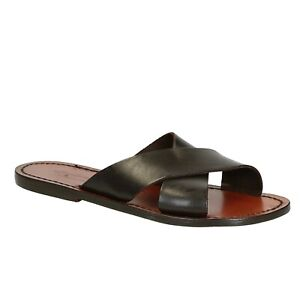 brown womens leather slippers womens sandals shoes handmade slippers flipflops