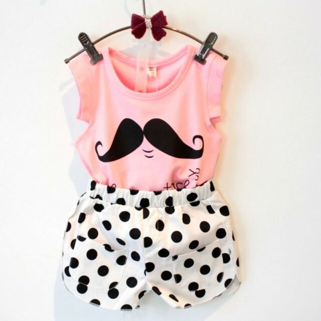 Toddler Kids Baby Girls Tops T-shirt Dot Shorts Summer Outfits Clothes Suit