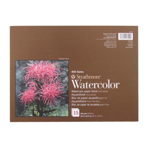 "Strathmore Série 400 Aquarelle d/'artiste papier bloc 12/""x9/"" 300gsm//140lbs"