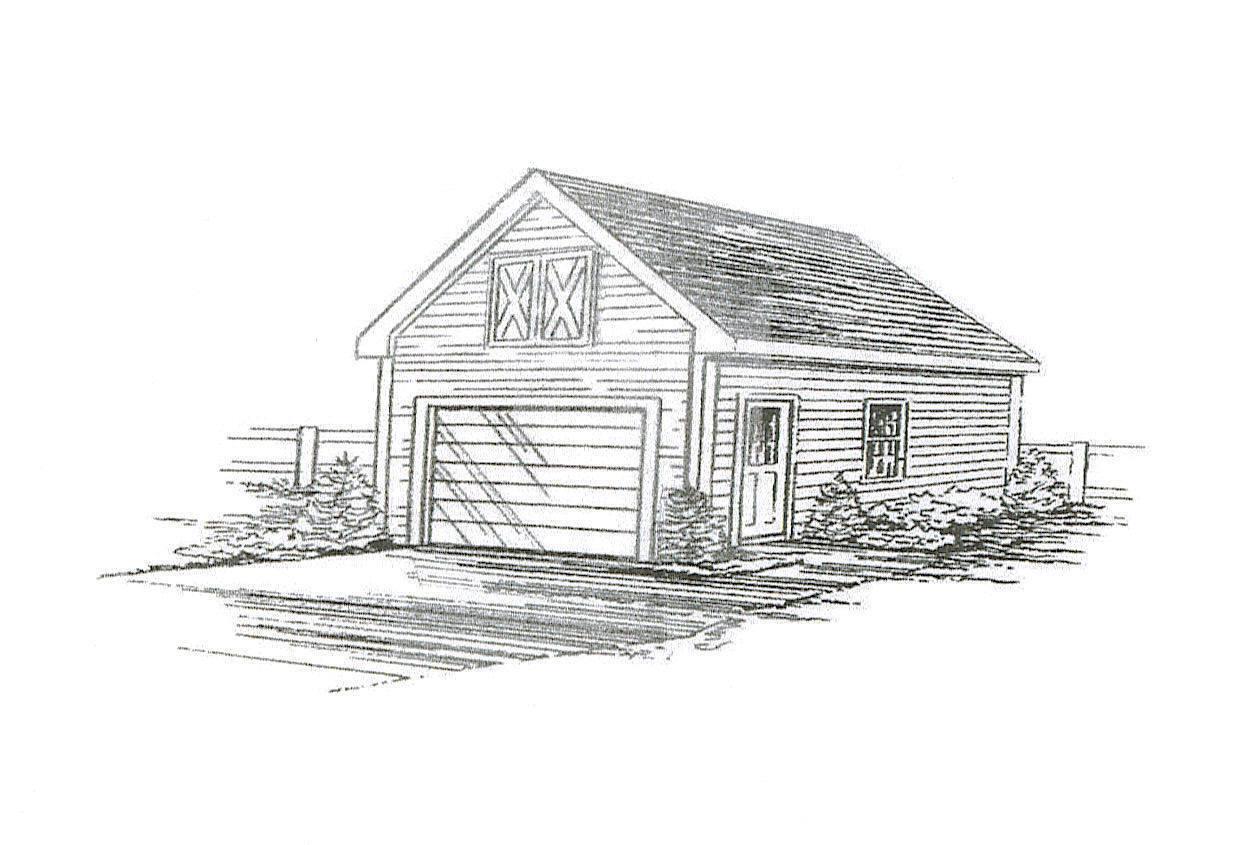 18 x 24 1+ Car FG Garage Garage Garage Building Blauprint Plans with pull down stair to Attic f1889e