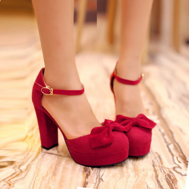Womens Fashion Summer Spring ANkle Strap Faux Suede Velvet Bowknot Lolita Shoes