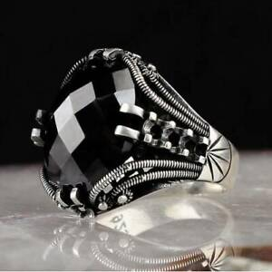925-Sterling-Silver-Men-039-s-Jewelry-Faceted-Black-Onyx-Stone-Men-039-s-Ring