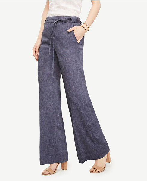 Ann Taylor Sz 8 The Portofino Pant Hazy bluee Wide Leg Side Zip Linen Blend NWT