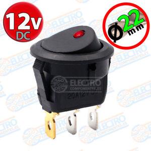 Interruptor-ON-OFF-con-LED-12v-ROJO-22mm-16A-redondo-SPST-coche-car-luz-SPST